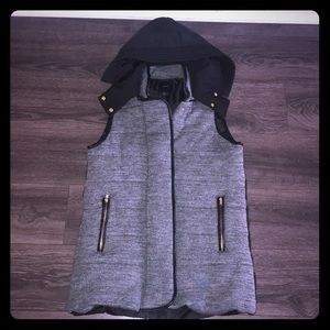 Gray and Black Down Vest
